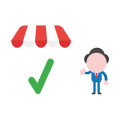 Vector businessman character giving thumbs up with check mark under shop store awning
