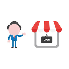 Vector businessman character showing shop store with written open on hanging sign