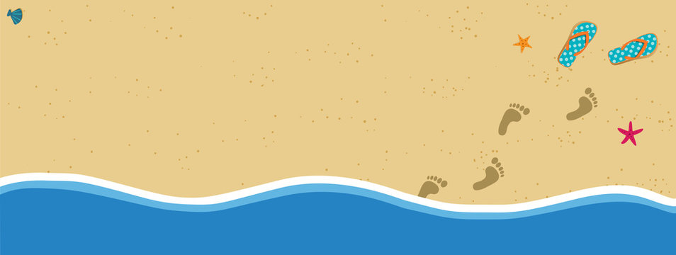 Summer banner with copy space flip flops and foot prints on sandy beach background