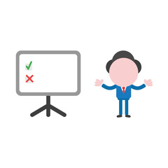 Vector businessman character and presentation chart with check and x marks