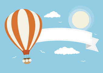 Cartoon Vector Hot Air Balloon with Banner