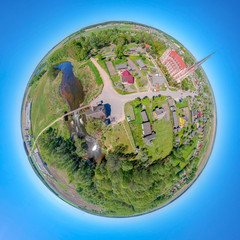 Little planet Gerviaty, Belarus. Drone shpere photo 360°