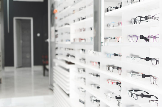 shelf with glasses in the shop