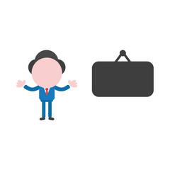 Vector businessman character with blank black hanging sign