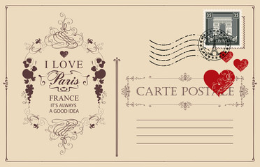 Retro postcard with words I love Paris and postmark with Triumphal arch. Romantic vector postcard in vintage style with red hearts, vignette, rubber stamp and place for text