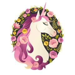 Unicorn head in wreath of flowers Watercolor illustration.