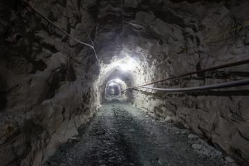 Underground old ore gold mine tunnel shaft passage mining technology with light