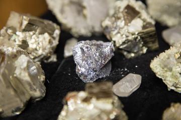 Gold ore raw minerals crystalls of quartz pyrite galenite