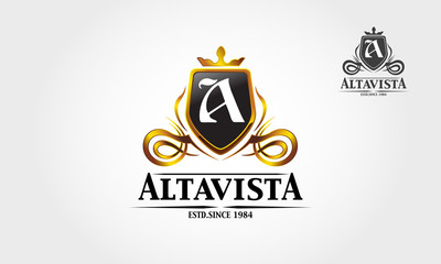 Alta vista royal professional crest logo or classic logo template suitable for any kind of business. All image in vector format.