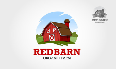 Vector illustration of red farm building and related items. excellent logo template highly suitable for farming. Vector logo illustration