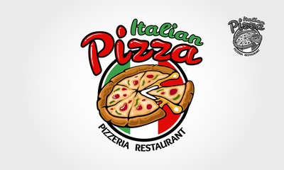 Italian Pizza Vector Logo Template for  restaurant, fast food, delivery, trattoria, bistro, catering and Italian food related businesses.