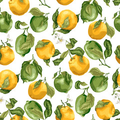 Seamless pattern with fruits. Fresh oranges and limes with flowers on the branches with leaves in graphic vector illustration