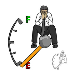 sad businessman sitting on fuel gauge using hands to cover his face vector illustration sketch doodle hand drawn with black lines isolated on white background