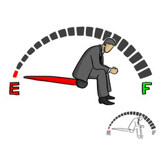 stressed businessman sitting on fuel gauge sign vector illustration sketch doodle hand drawn with black lines isolated on white background