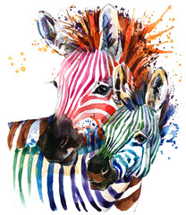 zebra illustration with splash watercolor texture. rainbow  background for fashion print, poster for textiles, fashion design