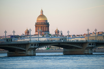 Blagoveshchensky Bridge and dome of St. Isaac Cathedral in the May evening. St. Petersburg, Russia