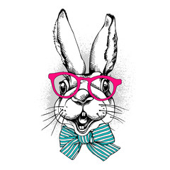 Portrait of the Rabbit in a pink Glasses and with a striped bow. Vector illustration.