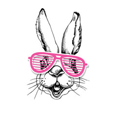 Portrait of the Rabbit in a pink Grille Glasses. Vector illustration.