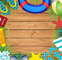 Summer vacation beach accessories and palm leaves on wooden background.