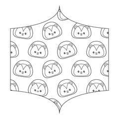decorative frame with cute lion pattern over white background, vector illustration