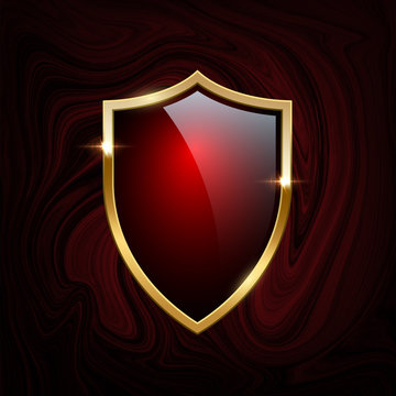 Red glass shield with golden frame isolated on red liquid or marble background. Vector design element.