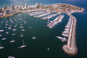 Aerial view of Marina of Punta del Este, Uruguay.