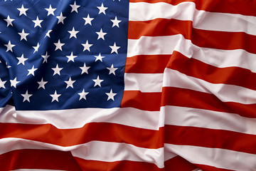 closeup of american USA flag