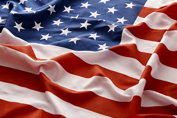 closeup of american USA flag