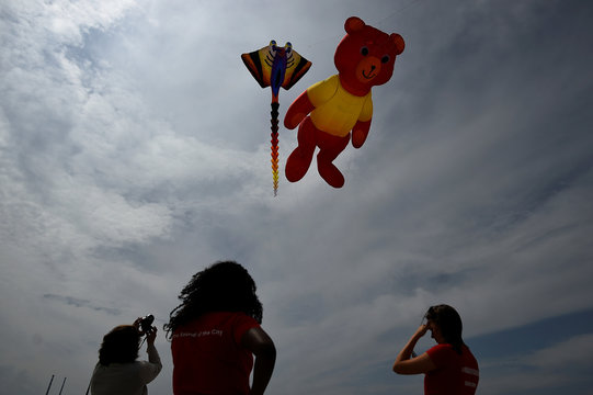 People look up to the sky as Andrew Beattie flies his giant kites at the beach on Bull Island on a sunny day near Dublin