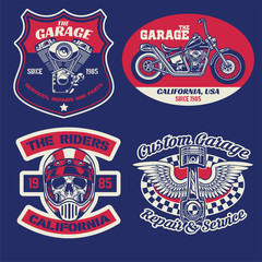 vintage badge set of motorcycle concept