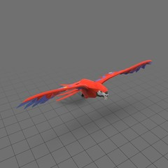Stylized red parrot flying