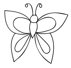 Butterfly black line isolated on the white background