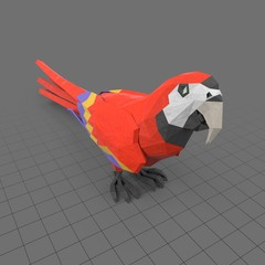 Stylized red parrot standing