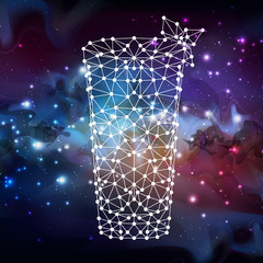 Abstract polygonal tirangle cocktail on open space background.