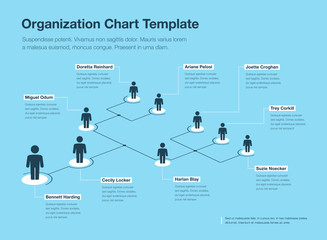 Simple blue and white company organization hierarchy chart template with place for your content. Easy to use for your website or presentation.