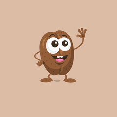Illustration of cute happy coffee bean mascot greeting someone with big smile isolated on light background. Flat design style for your mascot branding.