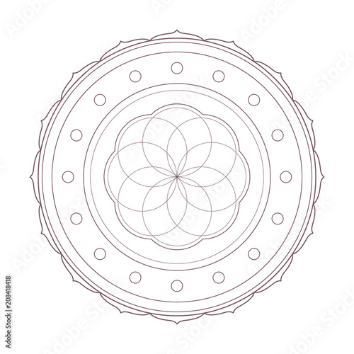 Simple Design Of Mandala Line Art Useful For Coloring Pages