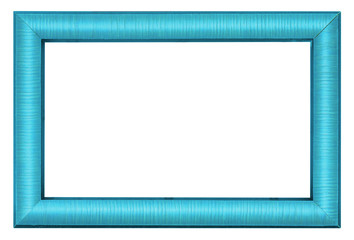 Painted blue picture frame isolated on white background