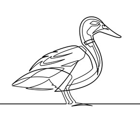 Deurstickers One Line Art Duck Continuous Line Vector Illustration