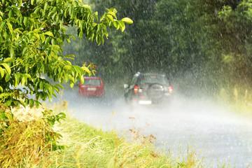 Heavy rain in summer time