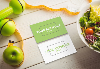 Business Cards on White Table Mockup