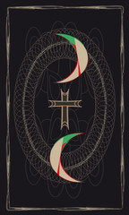 Tarot card back - symbolic composition. Two Moons and the Cross of Templar's