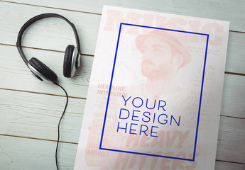 Poster Mockup with Headphones