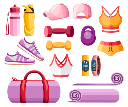 Set of sports accessories and clothes. Women outfits. Orange and pink color collection. Icons for classes in the gym. Vector illustration isolated on white background