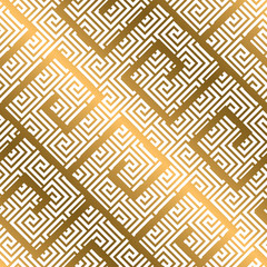 Luxury gold asian meander style seamless pattern.
