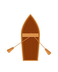 Wooden boat with oars. Water transport, fishing boat, travel, hobbies.