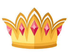 Golden crown with red gemstones. Royal ceremonial crown. Flat design style. Vector illustration isolated on white background