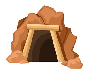 Cartoon mine entrance. Retro tunnel. Old mine in desert. Flat vector illustration isolated on white background