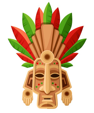 Ethnic tribal mask. Mask with green and red leaf. Ritual headdress, colorful. Vector illustration isolated on white background