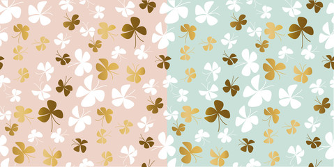 Pale color and gold butterfly seamless pattern.